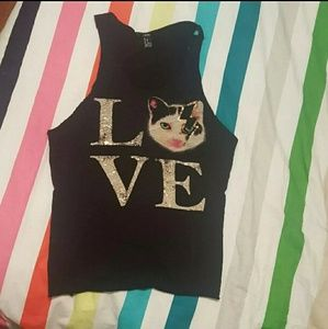 "⚡🐱Forever 21 M Love ""Bowie"" Cat Black Tank"